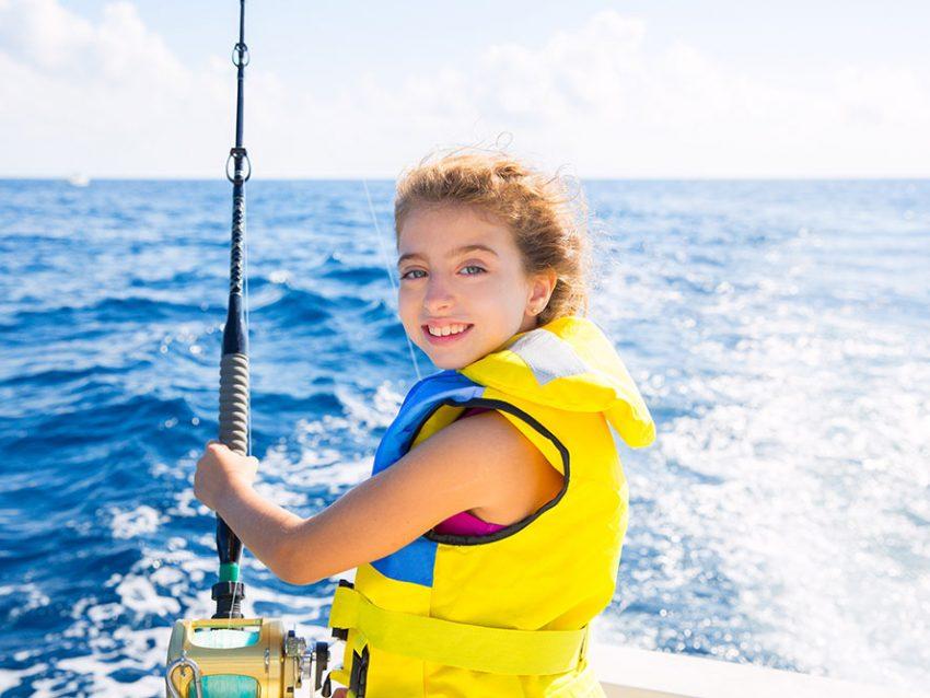 Blond Kid Girl Fishing